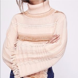 Free People Striped Flared-Sleeve Sweater